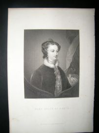 Mary Queen of Scots C1870 Steel Engraved Portrait Print.